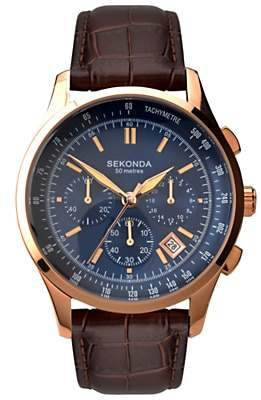 Sekonda 1157.27 Men's Chronograph Leather Strap Watch, Brown/Blue