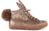 Ocra Fur-Lined Sequin Zip Trainers with Pompom