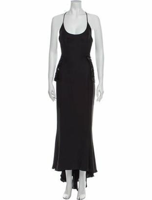 Jenny Packham Scoop Neck Long Dress Grey