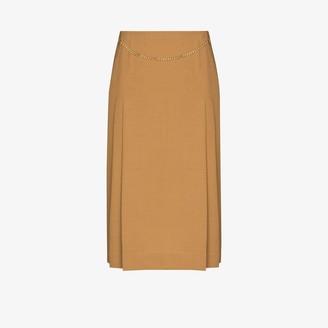 Victoria Beckham Chain Detail Pleated Midi Skirt