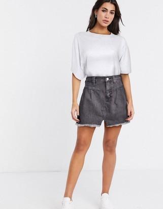 Free People denim mini skirt in grey
