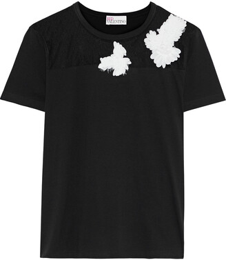 RED Valentino Appliqued Point D'esprit-paneled Cotton-jersey T-shirt