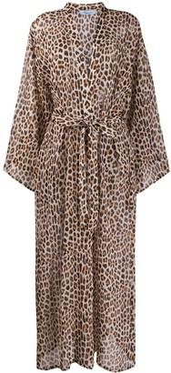 Blumarine Leopard Print Kimono Dress