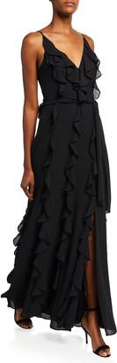 Badgley Mischka V-Neck Sleeveless Cascading Ruffle Column Gown