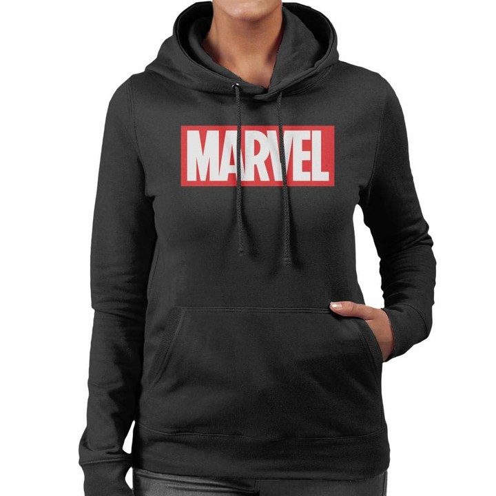 Thumbnail for your product : Marvel Classic Logo White Font Women's Hooded Sweatshirt