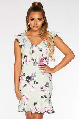 Quiz Petite Sage and Pink Floral Bodycon Dress
