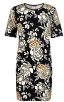Quiz Black White And Mustard Crepe Floral Tunic