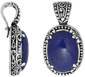 Sterling Arts Handmade Sterling Silver Oval Lapis Lazuli Clip-on Enhancer Pendant