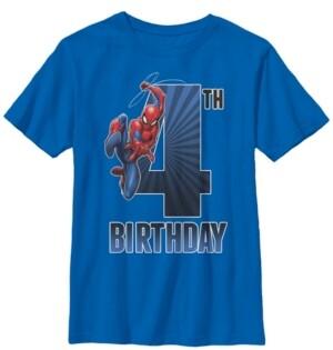 Fifth Sun Marvel Big Boy's Spider-Man Swinging 4Th Birthday Short Sleeve T-Shirt