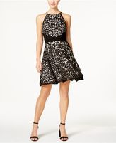 Xscape Evenings Laser-Cut Fit and Flare Halter Dress