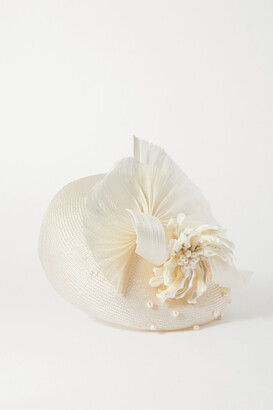 Merve Bayindir Anne Pearl-embellished Silk And Abaca-blend Hat - White