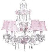 The Well Appointed House Flower Garden Five Arm Chandelier with Pink Pearl Dot Shades