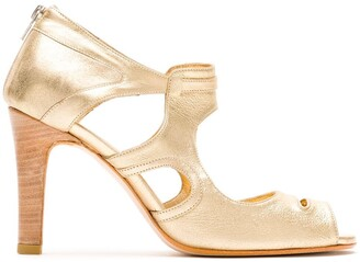 Sarah Chofakian Metallic Leather Pumps