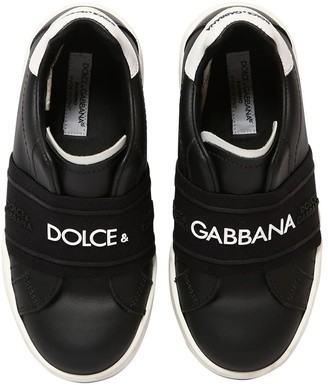 Dolce & Gabbana Logo Printed Leather Slip-On Sneakers
