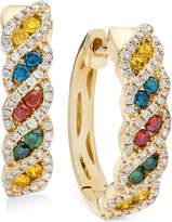 LeVian Le Vian Exotics® Diamond Multi-Color Hoop Earrings (3/4 ct. t.w.) in 14k Gold
