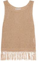 Alice + Olivia Tressa Fringed Embellished Cotton-Blend Tank