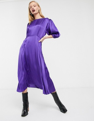 ASOS satin puff sleeve midi tea dress