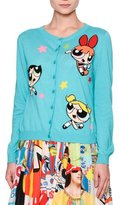 Moschino Powerpuff Girls Button-Front Cardigan, Light Blue