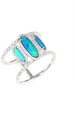 Meira T Diamond, Opal & 14K White Gold Ring