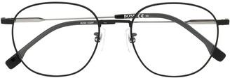 HUGO BOSS Matte-Effect Round-Frame Glasses