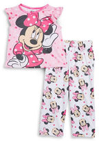 AME Sleepwear Little Girls Minnie Mouse Tee and Pants Pajama Set