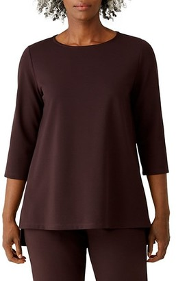 Eileen Fisher Jewel-Neck Three-Quarter Sleeve Tunic