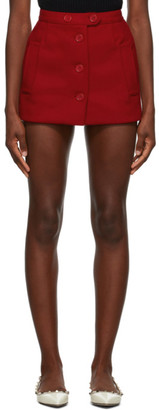 RED Valentino Red Cashmere and Wool Skort Shorts