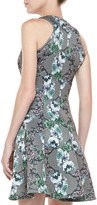 Faith Connexion Sleeveless Scroll-Printed Neoprene Dress, White/Gray/Multi