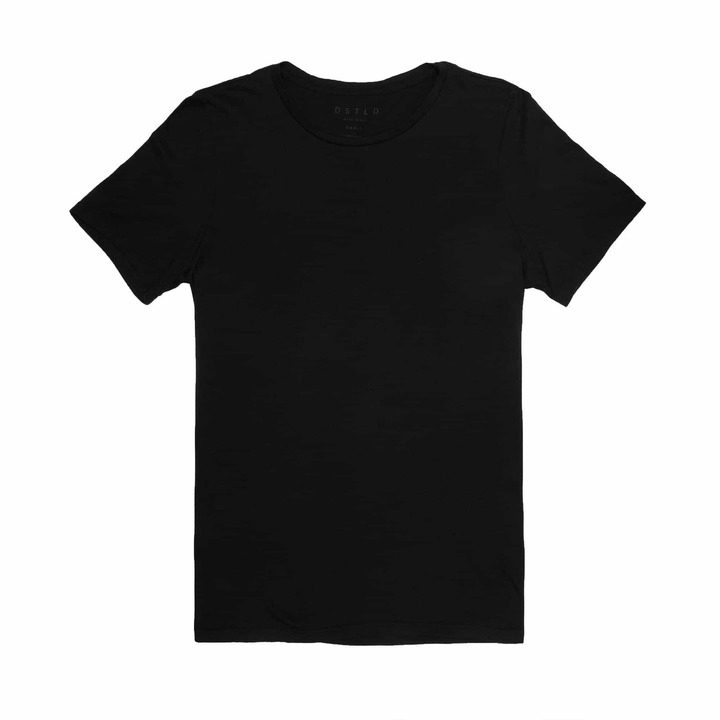 DSTLD Silk Blend Slim Crew Neck in Black