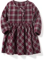 Old Navy Plaid Ruffled-Placket Twill Dress for Baby