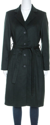 HUGO BOSS By Green Wool Belted Clairona Coat M