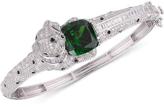 Tiara Emerald-Look Glass Stone and Cubic Zirconia Panther Bangle Bracelet in Sterling Silver