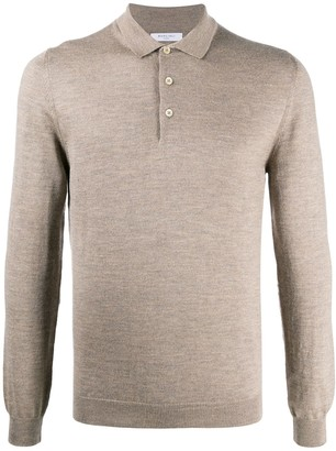 Boglioli Long-Sleeved Fine Knitted Polo Shirt