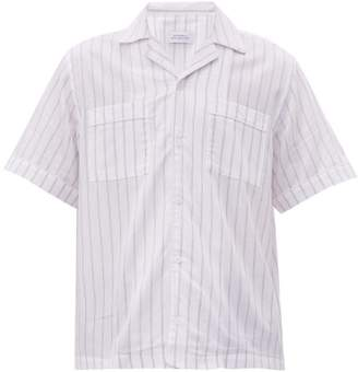 Saturdays NYC Cameron Striped Short-sleeved Cotton-blend Shirt - Mens - White