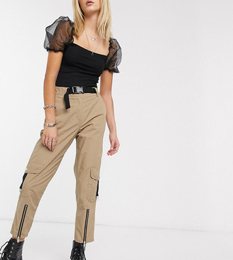 Reclaimed Vintage inspired utility pants with buckle detail in biscuit