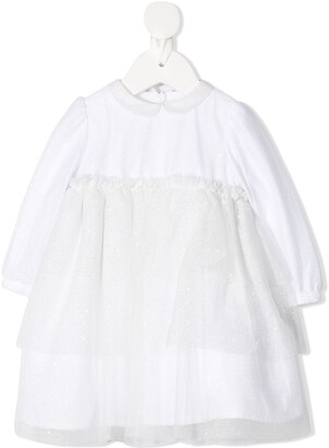 Il Gufo Tulle-Layered Longsleeved Dress