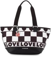 Love Moschino Check-Print Canvas Tote Bag, Black/White