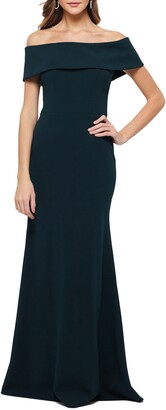 Betsy & Adam Off the Shoulder Back Ruffle Scuba Crepe Gown