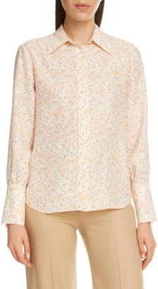 Chloé Bird Print Silk Crepe Shirt
