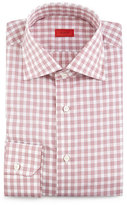 Isaia Box-Check Woven Dress Shirt, Soft Mauve