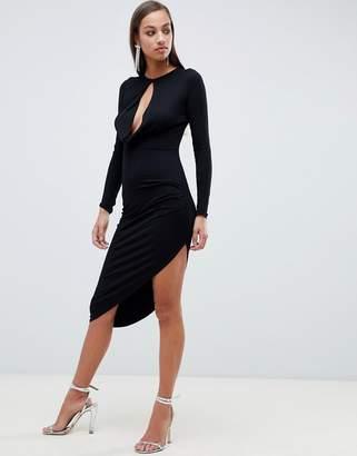 Asos DESIGN long sleeve keyhole drape bodycon midi dress