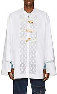 J.W.Anderson Men's Floral-Embroidered Cotton Tunic Shirt - White