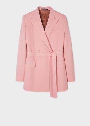Paul Smith Women's Pale Pink Wool-Stretch Wrap Blazer