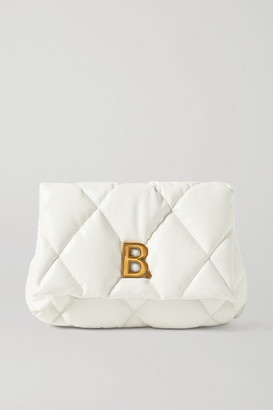 Balenciaga Touch Puffy Embellished Quilted Leather Clutch - White