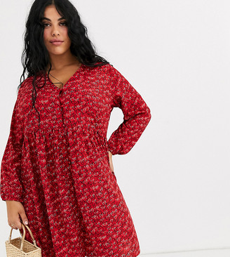 Wednesday's Girl Curve button front smock dress in scribble heart print-Red