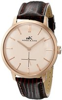 Adee Kaye Men's AK2225-MRG/RG Classique Stainless Steel Watch With Brown Faux-Leather Band