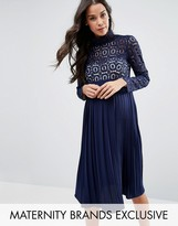 Little Mistress Maternity Long Sleeve Lace Bodice Pleated Midi Dress
