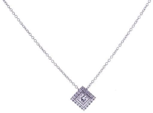 Tiffany & Co. Platinum Grace Princess Cut Diamond Pendant