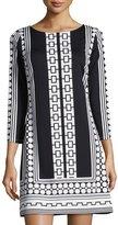 Julie Brown Geometric-Print Shift Dress, Black Moonstone