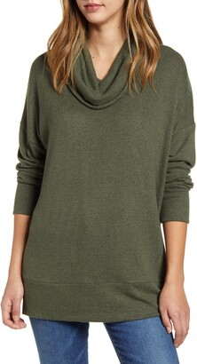 Loveappella Loveapella Cowl Neck Long Sleeve Top